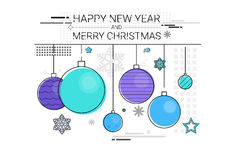 Toys Hanging Simple Line Sketch Merry Christmas Happy New Year Banner Card Outline Stock Images
