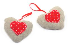 Toys hearts from a fabric Stock Photos
