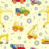 Toys heavy construction machines seamless pattern Stock Image
