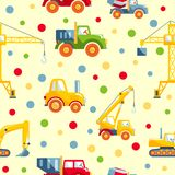 Toys heavy construction machines seamless pattern Stock Photography