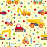 Toys heavy construction machines seamless pattern Royalty Free Stock Image