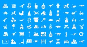 Toys icon blue set vector. Toys icon set. Simple set of toys vector icons for web design isolated on blue background Stock Photography