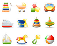 Toys icon set Royalty Free Stock Photos