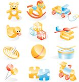 Toys icon set. Set of  icons in toy style Royalty Free Stock Images