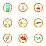 Toys icon set, cartoon style Stock Image