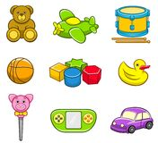 Toys Icon Set. A vector collection of toys, icon set for kids. Best for toys, kids, gifts, childhood, learning concept Vector Illustration