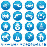 Toys icons. On round buttons Stock Photos