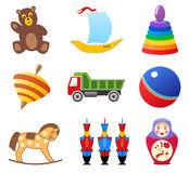 Toys icons. Vector icons of children toys Royalty Free Stock Image