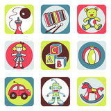 Toys icons. Vector hand drawn and designed illustrations Royalty Free Stock Image