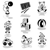 Toys icons. Vector hand drawn black and white illustrations Stock Photo