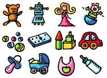 Toys icons royalty free stock photo