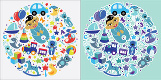 Toys icons for Asian baby boy.Circle Composition set Royalty Free Stock Photo