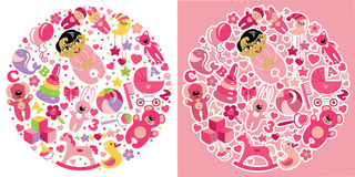Toys icons for Asian baby girl.Circle Composition set. A set of cute items of toys for new born Asian baby-girl in the form of a circle.Vector icons, design Stock Image