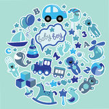 Toys icons for baby boy in circle,Blue colors royalty free illustration