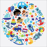Toys icons for baby boy in form of circle