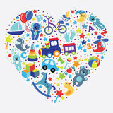 Toys icons for baby boy in  form of Heart Stock Images