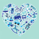 Toys icons for baby boy in  Heart,Blue colors Stock Photos