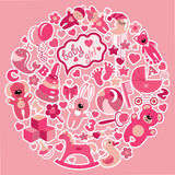 Toys icons for baby girl in circle.Pink colors. A set of cute items of toys for new born baby-girl in the form of a circle.Pink colors.Vector icons,design Royalty Free Stock Photos