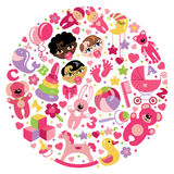 Toys icons for baby girl in circle Royalty Free Stock Image
