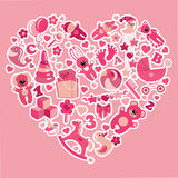 Toys icons for baby girl in Heart.Pink colors. A set of cute items of toys for new born baby-girl in the heart form.Pink colors.Vector design elements Royalty Free Stock Photography