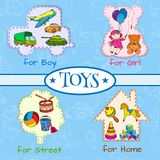 Toys icons composition Stock Image