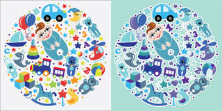 Toys icons for European baby boy.Circle Composition set Royalty Free Stock Image