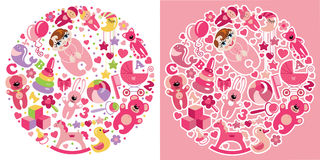 Toys icons for European baby girl.Circle Composition set Stock Photo