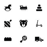 Toys icons 9 icons set. Isolated, black on white background Stock Photos