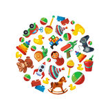 Toys icons for kids in circle shape Royalty Free Stock Images