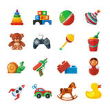 Toys icons for kids isolate on white background. Royalty Free Stock Images