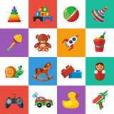 Toys icons for kids isolate on white background. Royalty Free Stock Photo