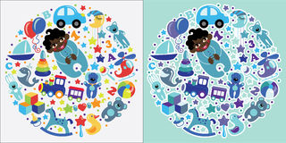Toys icons for mulatto baby boy.Circle Composition set Stock Photo
