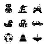 Toys icons set with - car, duck, bear, pyramid Stock Photos