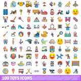 100 toys icons set, cartoon style. 100 toys icons set in cartoon style for any design vector illustration Royalty Free Stock Images