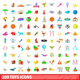 100 toys icons set, cartoon style. 100 toys icons set in cartoon style for any design vector illustration Stock Photo