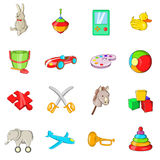 Toys icons set, cartoon style Royalty Free Stock Photo