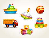 Toys icons set Stock Photos