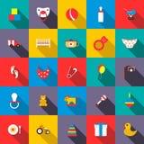 Toys icons set, flat style Royalty Free Stock Image