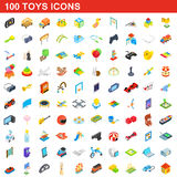 100 toys icons set, isometric 3d style. 100 toys icons set in isometric 3d style for any design vector illustration Stock Photos