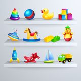 Toys icons shelf Royalty Free Stock Image