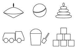 Toys icons simple shape Royalty Free Stock Image