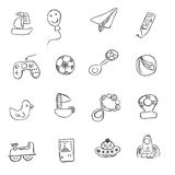 Toys, icons, sketch, vector, illustration, set Stock Photos