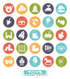 Toys icons vector set, negative in colored circles. Collection of solid black round childrens toys icons Stock Photography