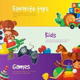 Toys icons for web banners. Stock Image