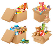 Toys. Illustration of four different box of toys Royalty Free Stock Photo