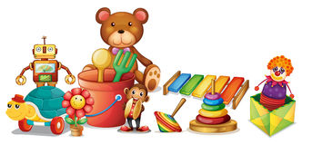 Toys. Illustration of a lot of toys on the floor Royalty Free Stock Images