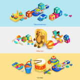Toys Isometric Banners Royalty Free Stock Photos