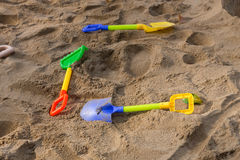Toys of kid for playing sand enjoy Stock Photos