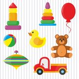 Toys for kids. Beautiful colored toys for kids, striped Stock Image