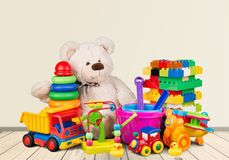 Toys. Kids child collection plastic white car Royalty Free Stock Images